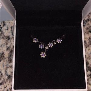 Pandora forget me not necklace. Purple & clear cz